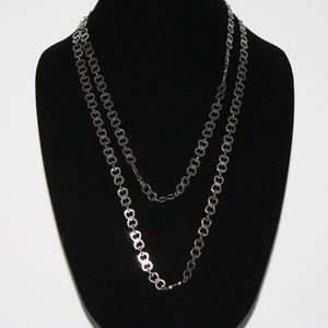 Beautiful Vintage Silver Necklace 39 inches Hearts